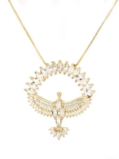 white Brass Cubic Zirconia Religious Bird Dainty Necklace