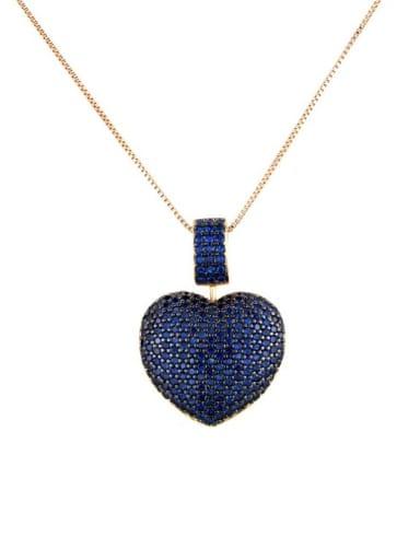 Gold Plated blue zirconium Brass Rhinestone Heart Dainty   Pendant Necklace