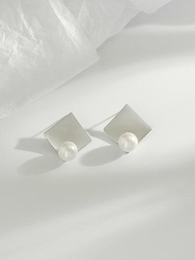 Dumb white K Copper Imitation Pearl Square Minimalist Stud Earring