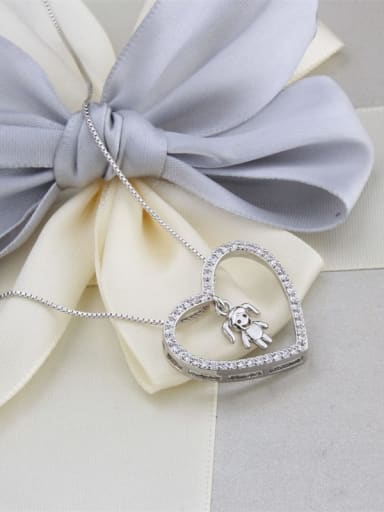 Platinum plated girl Brass Cubic Zirconia Hollow Heart Dainty Pendant Necklace