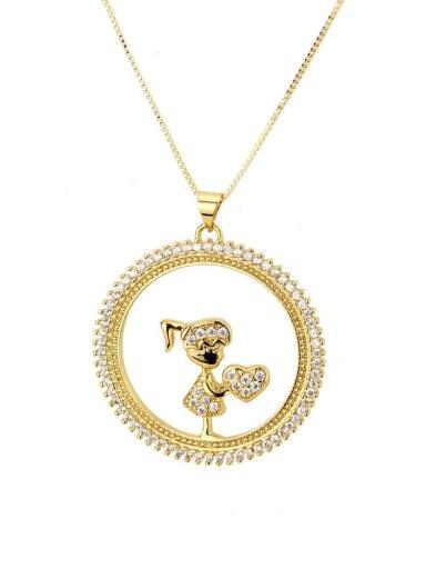 Brass Cubic Zirconia Round Cute boy girl  Pendant Necklace