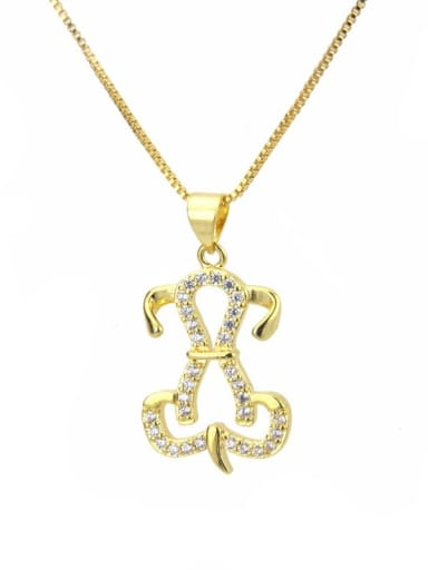 gold-plated Brass Cubic Zirconia Dog Dainty Necklace