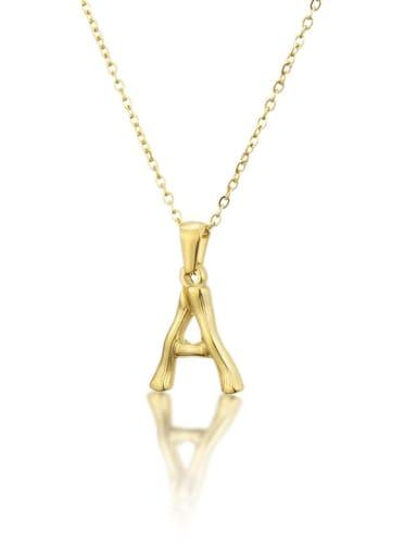 Titanium Rhinestone minimalist letter Pendant Necklace