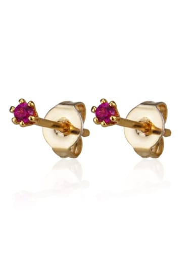 Gold Plated Red zirconium Brass Cubic Zirconia Round Minimalist Stud Earring