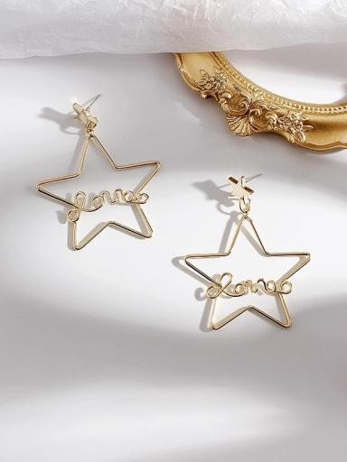 gold Copper Cubic Zirconia Hollow Pentagram Vintage Chandelier Earring
