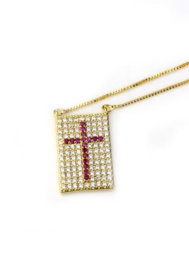 Gold Plated Red zircon Brass Cubic Zirconia Cross Dainty Initials Necklace