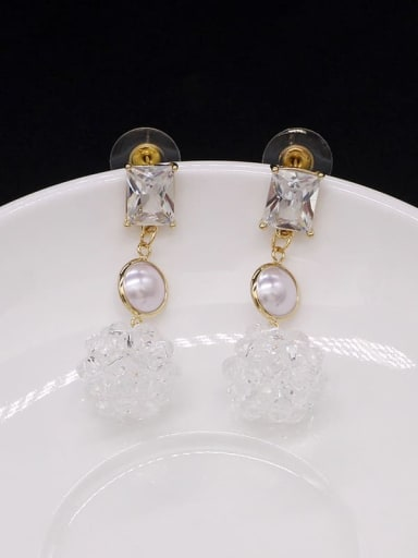 White crystal Copper Cubic Zirconia Ball Cute Stud Earring