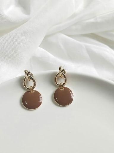 14K  gold coffee Copper Enamel Round Minimalist Drop Earring