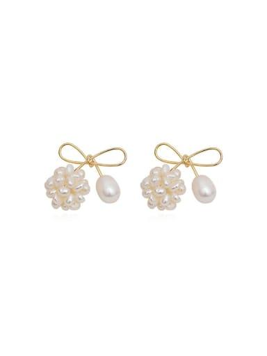 Copper Imitation Pearl Bowknot Dainty Stud Earring