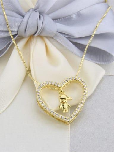 Gilded boy Brass Cubic Zirconia Hollow Heart Dainty Pendant Necklace