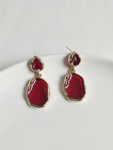 14K  gold wine red Copper Enamel Geometric Minimalist Stud Earring
