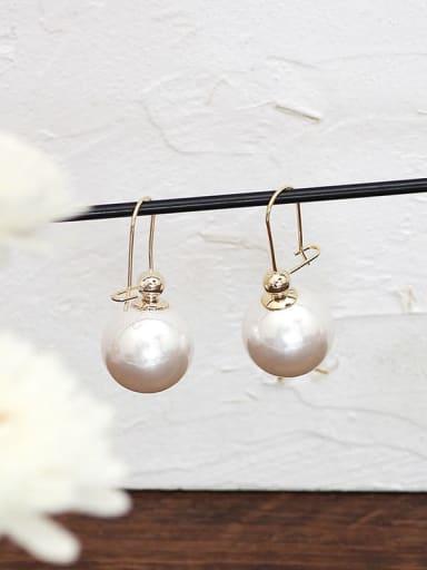 white Copper Enamel Geometric Minimalist Hook Earring