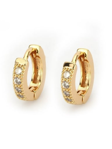 Gold plated white zircon Brass Cubic Zirconia Round Minimalist Hoop Earring