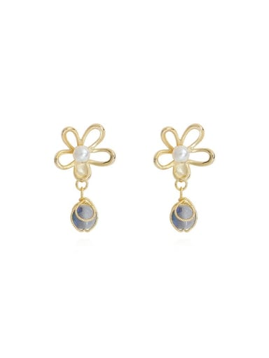 14K  gold grey crystal beads Copper Imitation Pearl Flower Minimalist Drop Earring