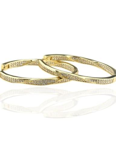 Gold Plated ellipse Brass Cubic Zirconia Oval Minimalist Hoop Earring