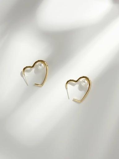 14K gold Copper Imitation Pearl Heart Minimalist Stud Earring