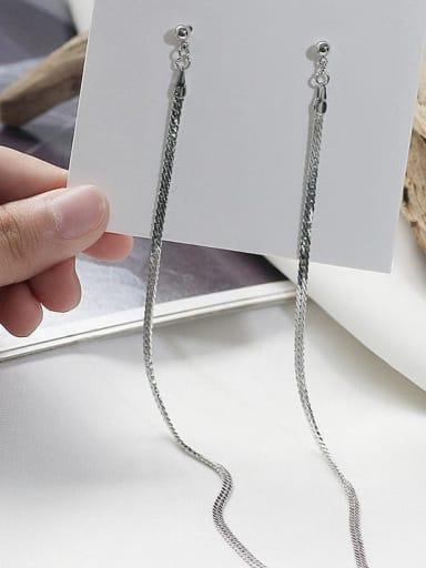 White K Copper Tassel Minimalist Threader Earring