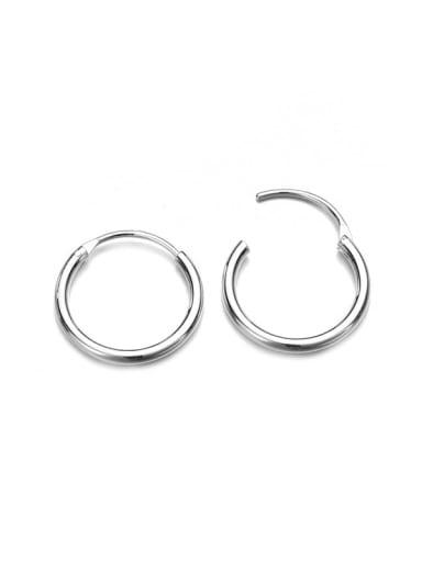 Steel color Stainless steel Round Minimalist Hoop Earring