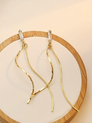 Copper Tassel Minimalist Threader Earring