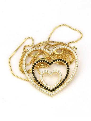 Gold Plated Black zircon Brass Heart Cubic Zirconia Dainty Pendant