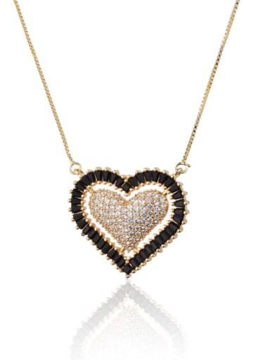 white Brass Cubic Zirconia Heart Luxury Necklace