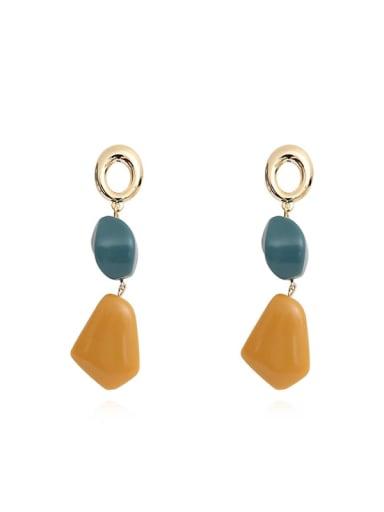 Copper Resin Geometric Minimalist Drop Earring
