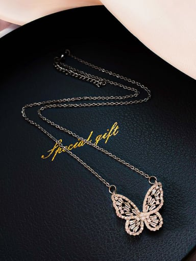Zinc Alloy Rhinestone White Butterfly Dainty Necklace