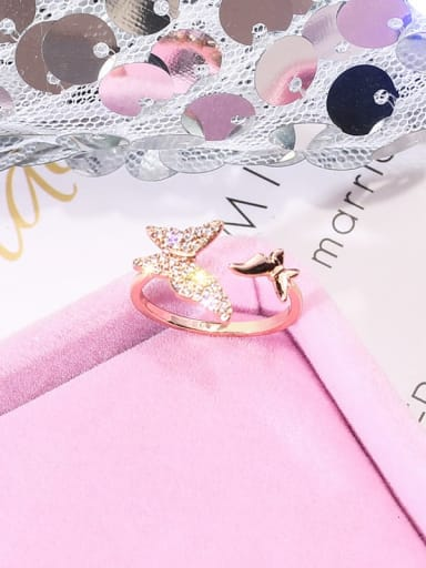 golden Alloy+ Rhinestone White Butterfly Trend Ring/Free Size Ring