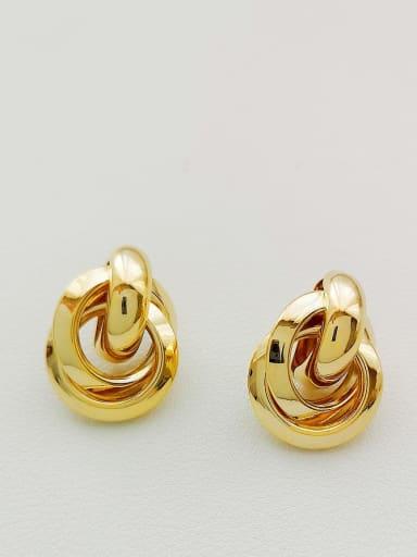 golden Copper Irregular Minimalist Stud Earring