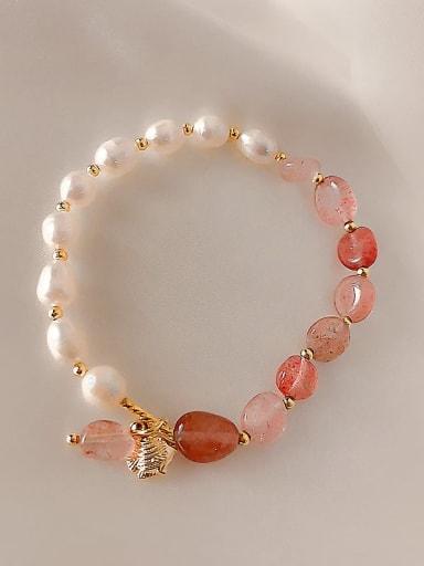 Pink Crystal Bracelet Alloy Imitation Pearl Irregular Ethnic Adjustable Bracelet