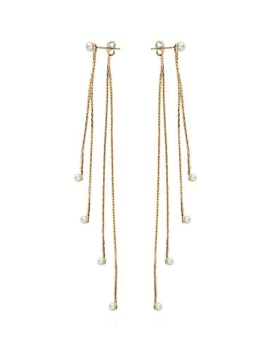 Copper Rhinestone Tassel Trend Threader Earring