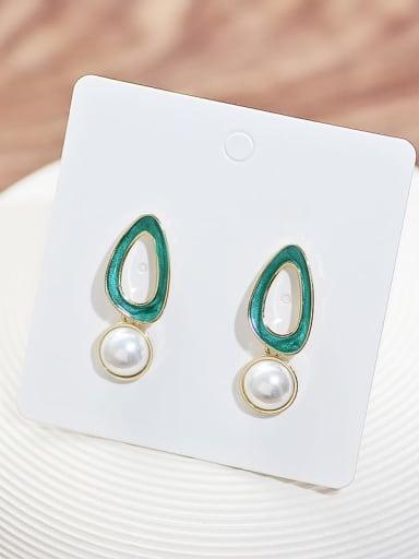 14K gold Copper Imitation Pearl Enamel Geometric Minimalist Drop Earring