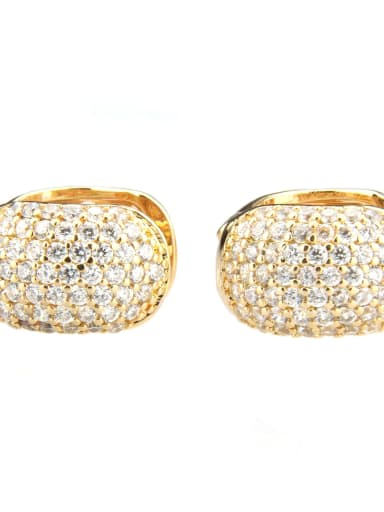 Gold plated white zircon Brass Cubic Zirconia Round Minimalist Clip Earring