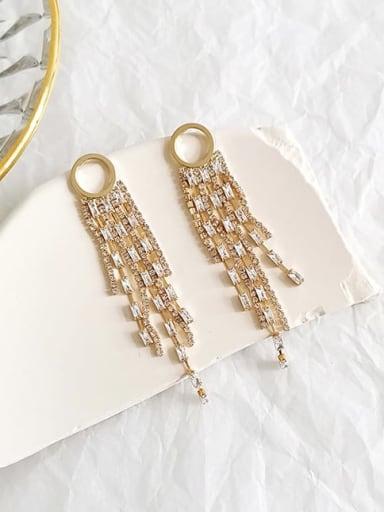 14K gold Copper Cubic Zirconia Tassel Luxury Threader Earring