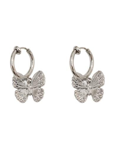 Copper Butterfly Vintage Huggie Earring