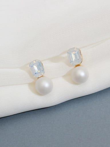albumin Copper Imitation Pearl Square Glass stone Minimalist Stud Earring