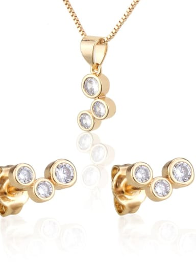 Brass Round Cubic Zirconia Earring and Necklace Set