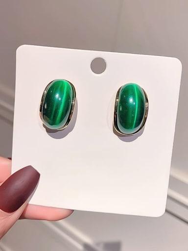 Silver needle. (gold) Green Opal Alloy Cats Eye Geometric Minimalist Stud Earring