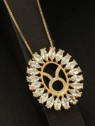 Taurus Brass Cubic Zirconia Constellation Dainty Necklace