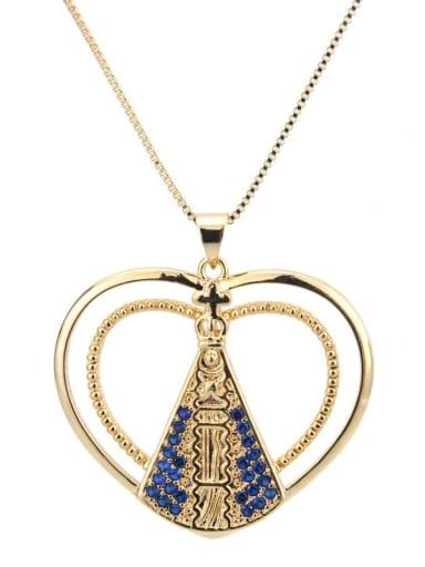 Brass Cubic Zirconia Heart Ethnic Regligious Necklace