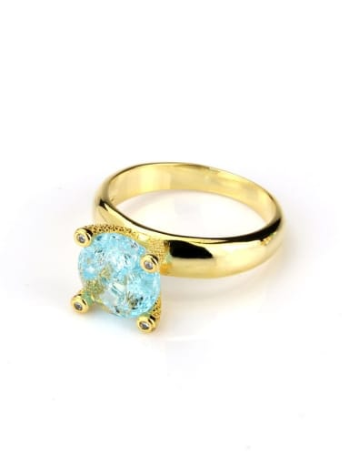 Gold Plated blue Brass Opal Geometric Vintage Band Ring
