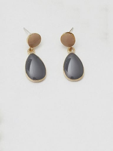 dark grey Copper Enamel Water Drop Minimalist Drop Earring