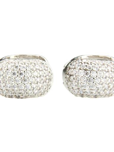 Platinum plated white zircon Brass Cubic Zirconia Round Minimalist Clip Earring