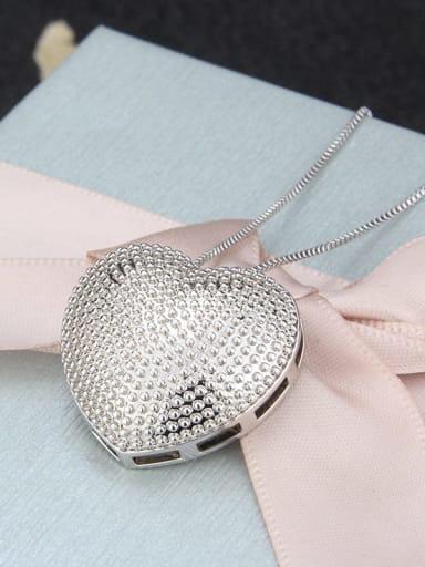 platinum Brass  Smooth Heart Minimalist  Pendant  Necklace
