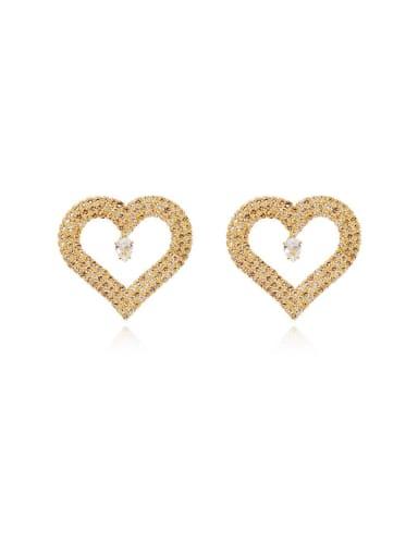 14K gold Copper Cubic Zirconia Heart Dainty Stud Earring