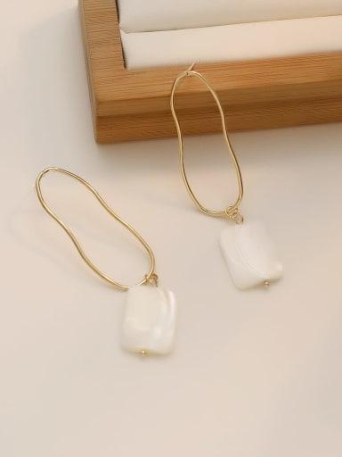 Copper Freshwater Pearl Geometric Minimalist Drop Earring