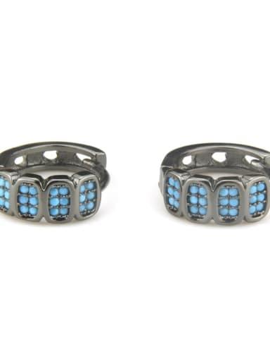 XXED 216 Brass Cubic Zirconia Geometric Vintage Huggie Earring