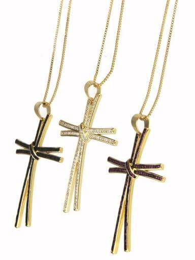 Brass Rhinestone Cross Dainty Regligious Necklace