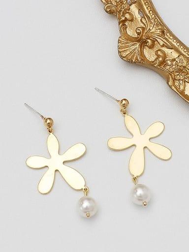 Copper Imitation Pearl Geometric Minimalist Stud Earring