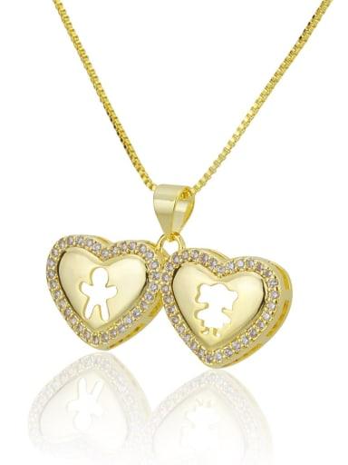 golden Brass Rhinestone Heart Minimalist Necklace